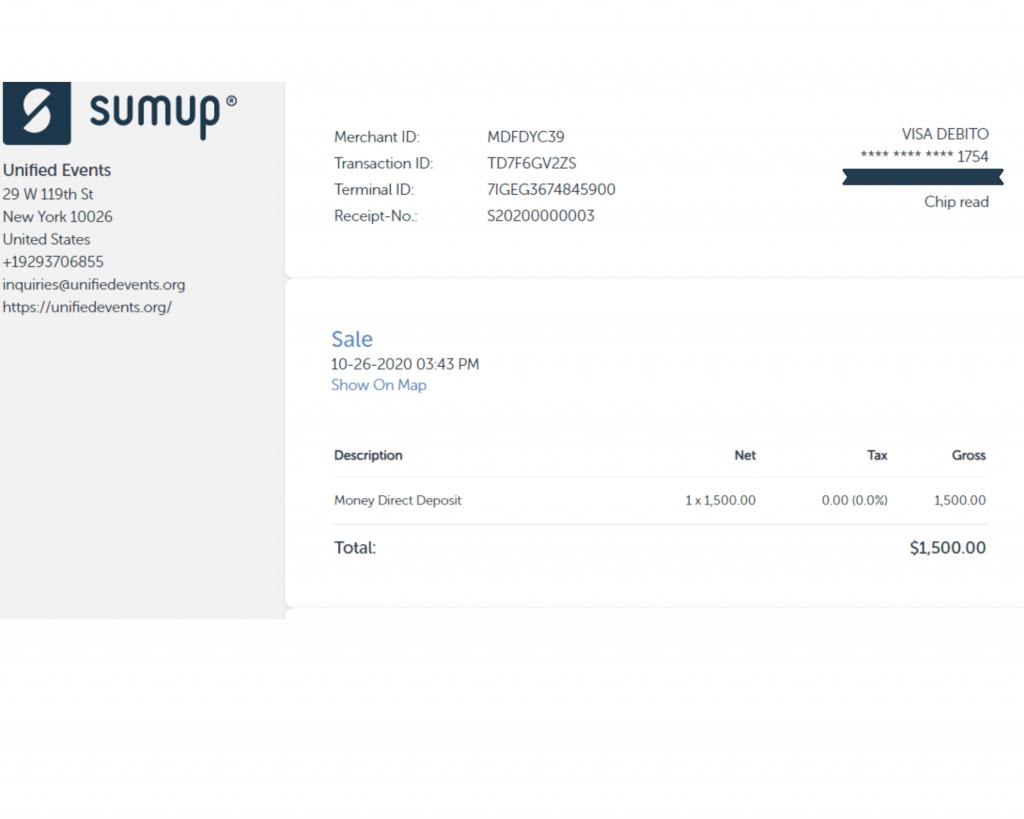Sumup receipt for cash