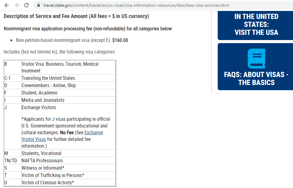US nonimmigrant visa fee